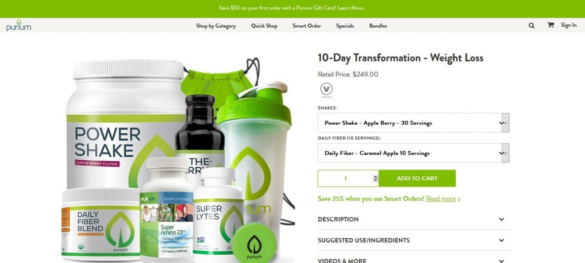 Purium 10-Day Transformation - Weight Loss